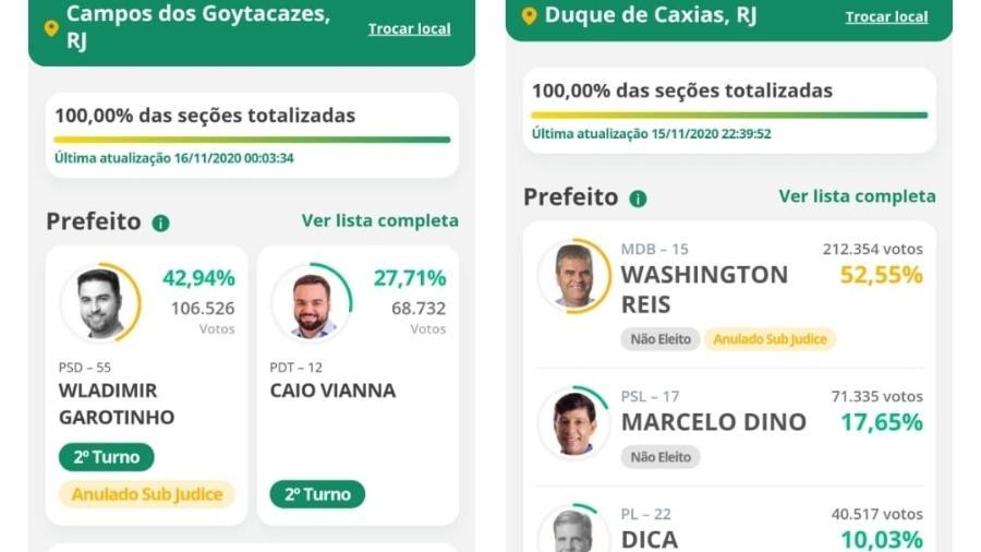 Telas do aplicativo Resultados, do TSE, indica que as candidaturas de Wladimir Garotinho (esq) e Washington Reis (dir) estão anuladas, mas sub judice - Reprodução