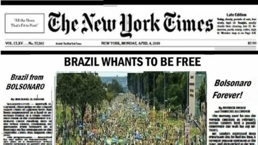 É falsa a imagem que circula nas redes sociais sobre uma suposta capa pró-Bolsonaro do The New York Times - Reprodução/Twitter