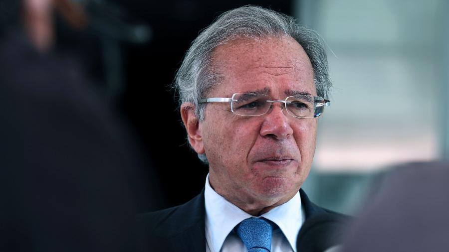 Ministro da Economia, Paulo Guedes, durante conversa com a imprensa, na sede do Ministério da Economia - Edu Andrade/Ministério da Economia