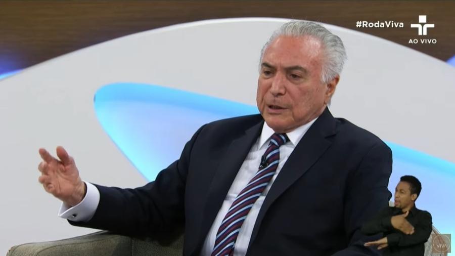Michel Temer participa do programa Roda Viva - Reprodução/TV Cultura