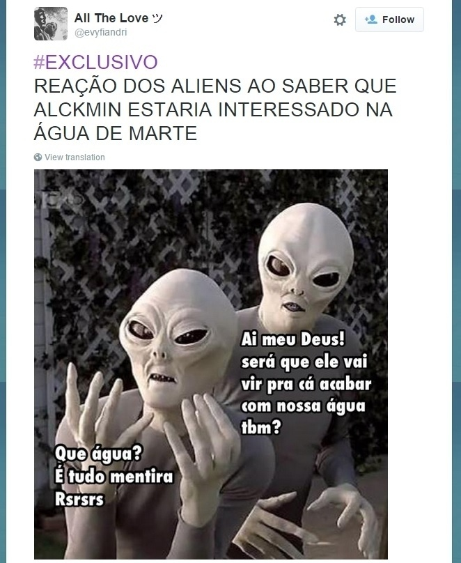 28.set.2015 - Internauta faz montagens onde marcianos negam a descoberta da Nasa (Agência Espacial Norte-Americana), que divulgou que há água em estado líquido em Marte, por medo que o governador Geraldo Alckmin vá ao planeta roubar o recurso para sanar a crise hídrica de São Paulo
