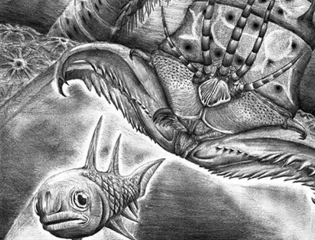 Reconstrução artística do Websteroprion armstrongi atacando um peixe - James Ormiston