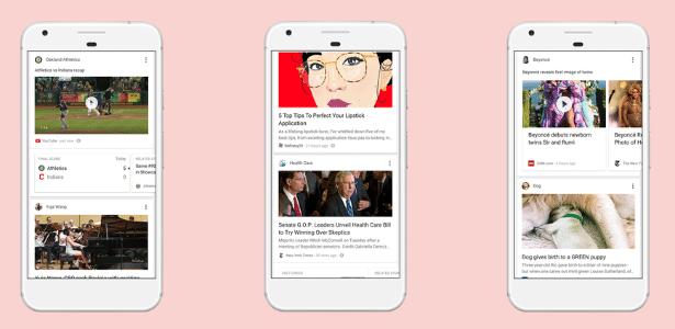 O novo feed do Google, mais próximo do que é visto nas redes sociais