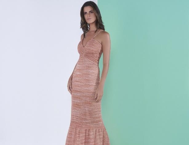 Renata Campos vestido longo de tricô drapeado