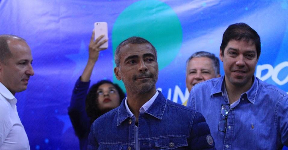 4.ago.2018 - O candidato ao governo do Rio de Janeiro, Romário, durante a Convenção Estadual do Podemos, no Clube Municipal da Tijuca no Rio de Janeiro