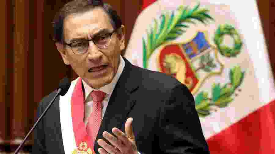 23.mar.2018 - Presidente do Peru, Martín Vizcarra, fala após ser empossado no Congresso - Mariana Bazo/Reuters