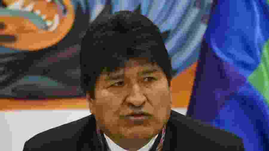 Presidente da Bolívia, Evo Morales, concede entrevista coletiva em que anuncia sua vitória na eleição - Aizar Raldes/AFP