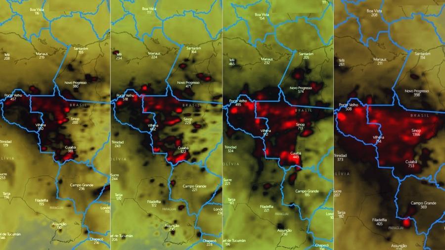 Evolução dos focos de incêndio nas últimas semanas na região de Mato Grosso e Rondônia - Lapis/UFAL/imagens cedidas ao UOL