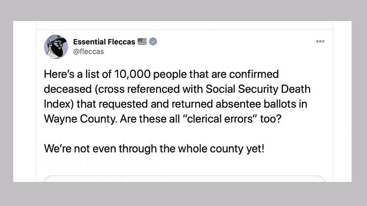 Um tuíte de uma conta chamada Essential Fleccas: 'Aqui está uma lista de 10 mil pessoas confirmadas como mortas' - BBC - BBC
