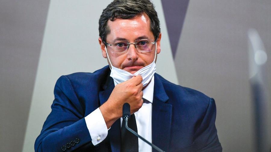 12.mai.2021 - CPI da Covid ouve o ex-secretário especial de Comunicação Social da presidência, Fabio Wajngarten - Edilson Rodrigues/Agência Senado