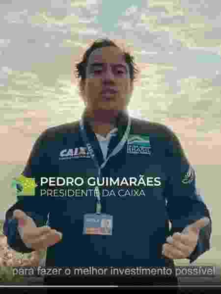 Vídeo divulgado pela Caixa em seu perfil oficial exalta a figura do presidente do banco, Pedro Guimarães - Reprodução/Instagram - Reprodução/Instagram