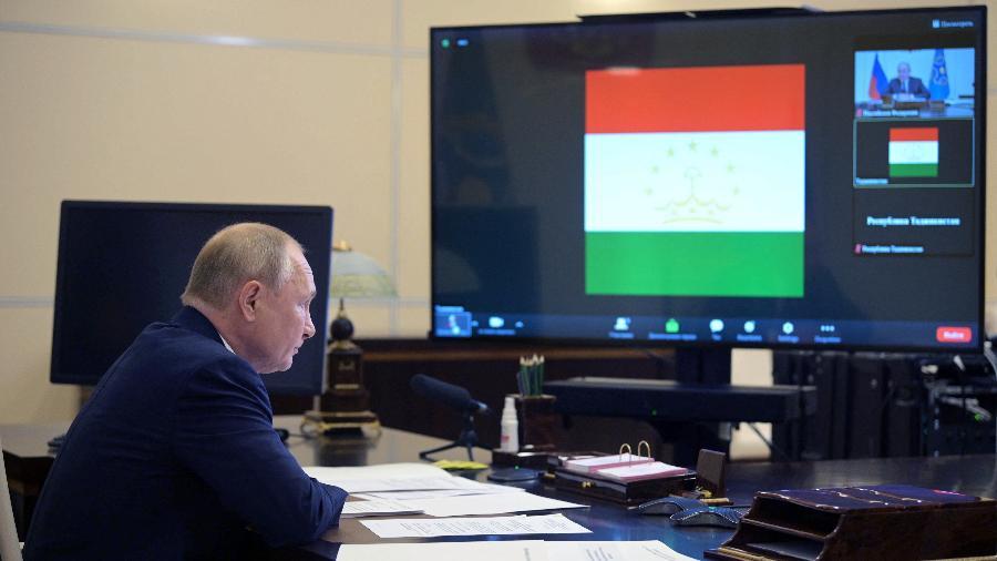 16.set.2021 - O presidente russo Vladimir Putin participa de encontro da Organização do Tratado de Segurança Coletiva - Alexey Druzhinin/Sputnik/AFP
