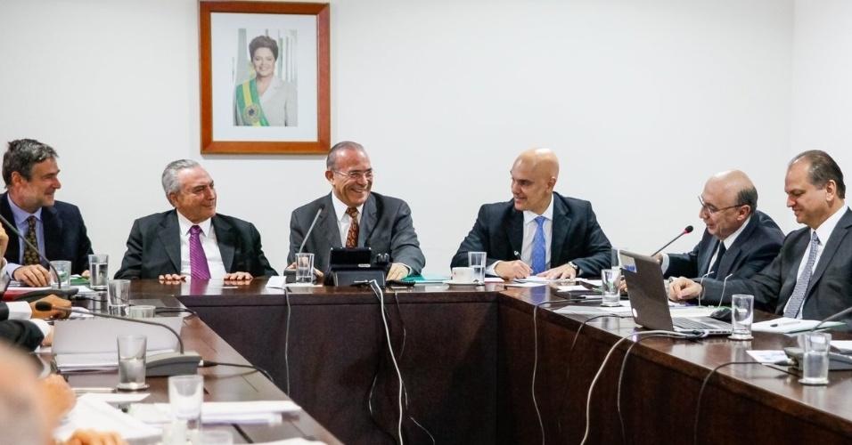 7.jun.2016 - O presidente interino, Michel Temer (PMDB), participa de reunião sobre os Jogos Olímpicos do Rio de Janeiro, na manhã desta terça-feira, em Brasília