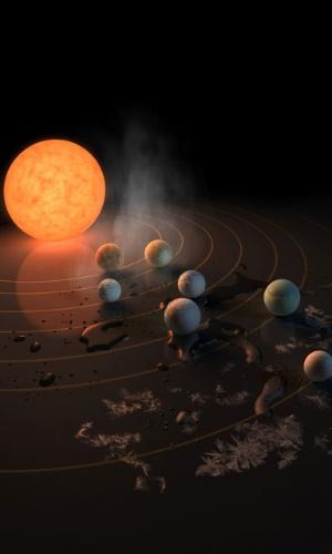 Nasa descobriu um sistema com sete exoplanetas do tamanho da Terra e acredita que pode haver água nele