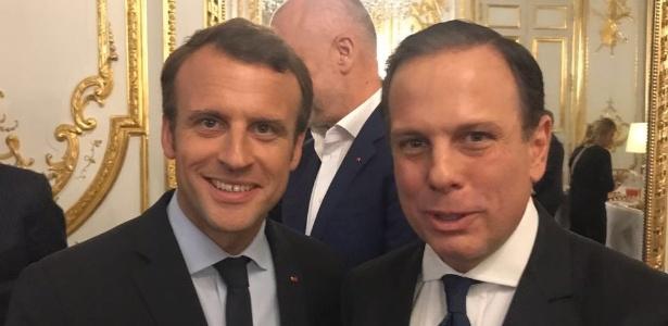 O prefeito de São Paulo, João Doria (PSDB), e o presidente da França, Emmanuel Macron, em Paris