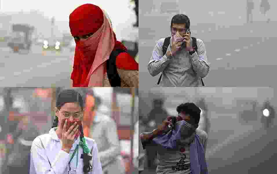 8.nov.2017 - Pessoas protegem o nariz em Nova Déli. O nível de poluição na cidade está cerca de 30 vezes superior ao indicado como seguro pela OMS (Organização Mundial da Saúde) - AP/AFP/Reuters