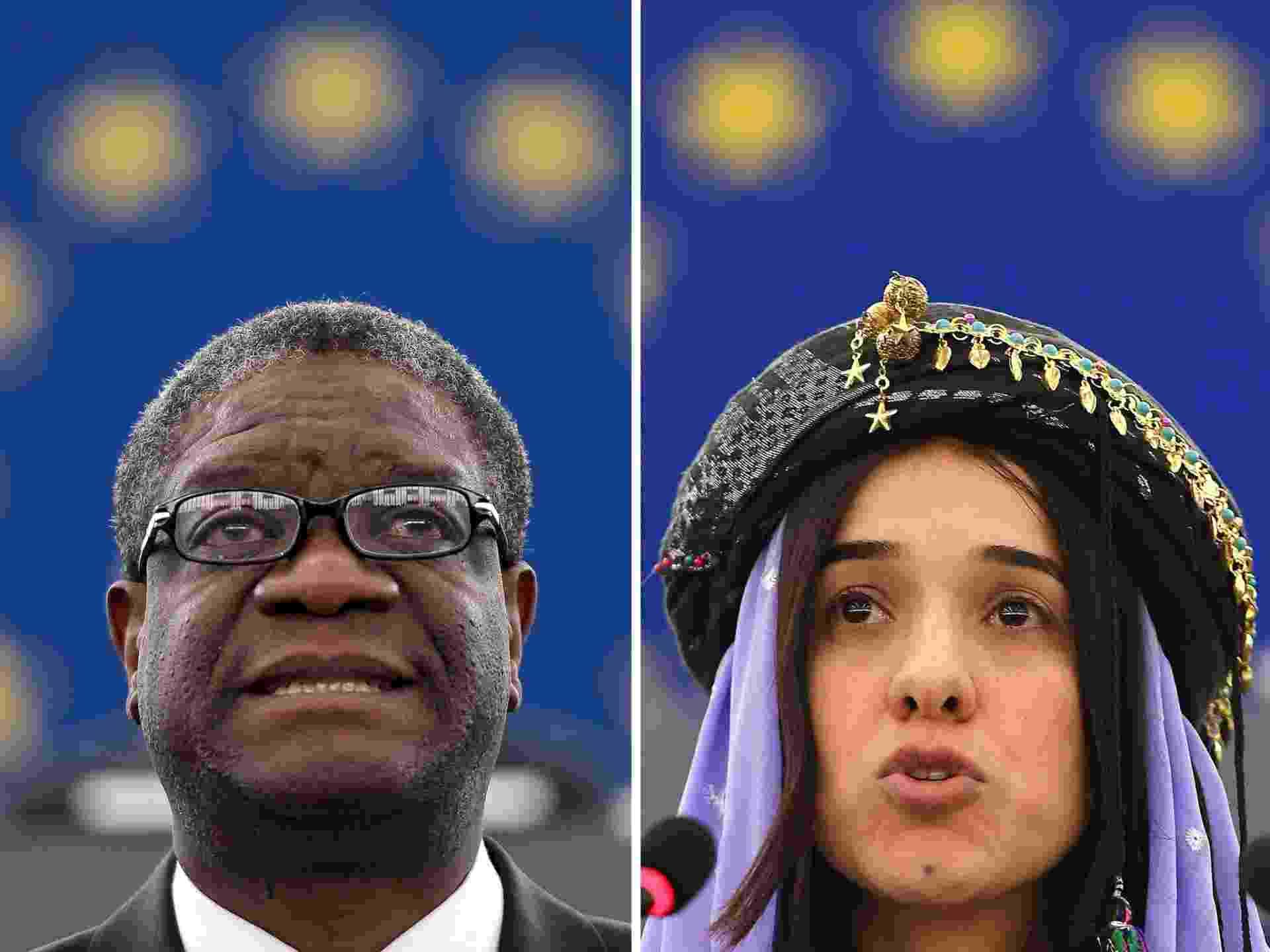 Denis Mukwege e Nadia Murad, vencedores do Prêmio Nobel da Paz 2018 - Frederick Florin/AFP