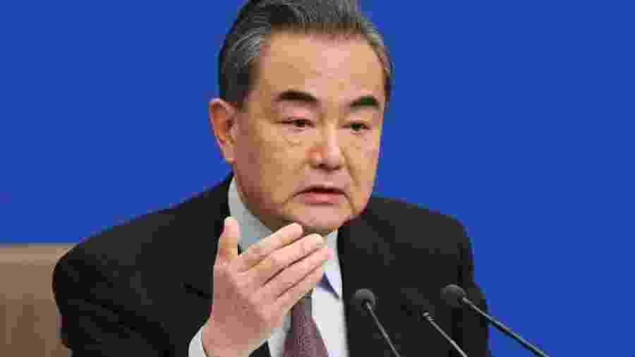 Wang Yi, ministro chinês das Relações Exteriores, em conferência em Pequim - Wang Zhao/AFP