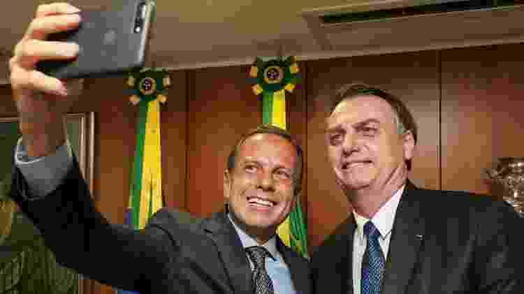 João Doria, governador de São Paulo, ao lado de Jair Bolsonaro durante evento no Palácio do Planalto, em abril - Marcos Corrêa/PR