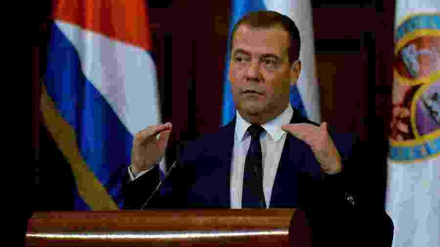 4.out.2019 - O premiê russo Dmitry Medvedev durante evento em Havana (Cuba) - Yamil Lage/AFP