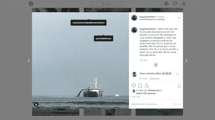 11.dez.2019 - Outro post mostra o navio na praia de Matosinhos - Reprodução/Instagram