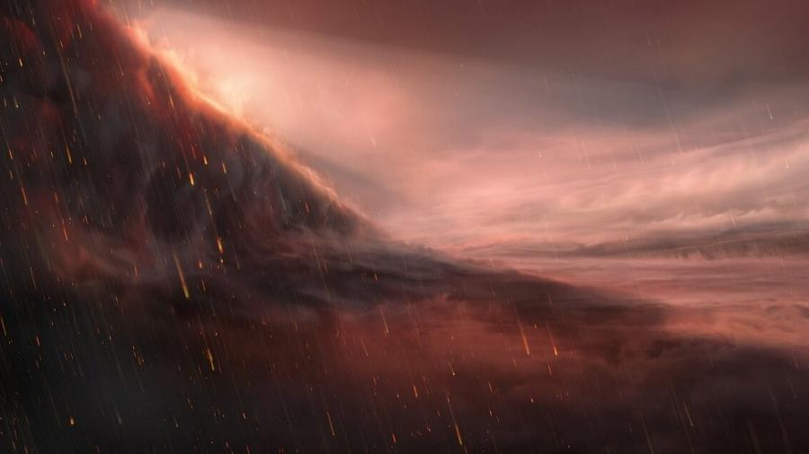 O exoplaneta WASP-76b tem calor de 2400 °C, e ventos fortes transportam vapor de ferro para o lado noturno mais frio, onde ele se condensa em gotículas de ferro. - Divulgação/ESO