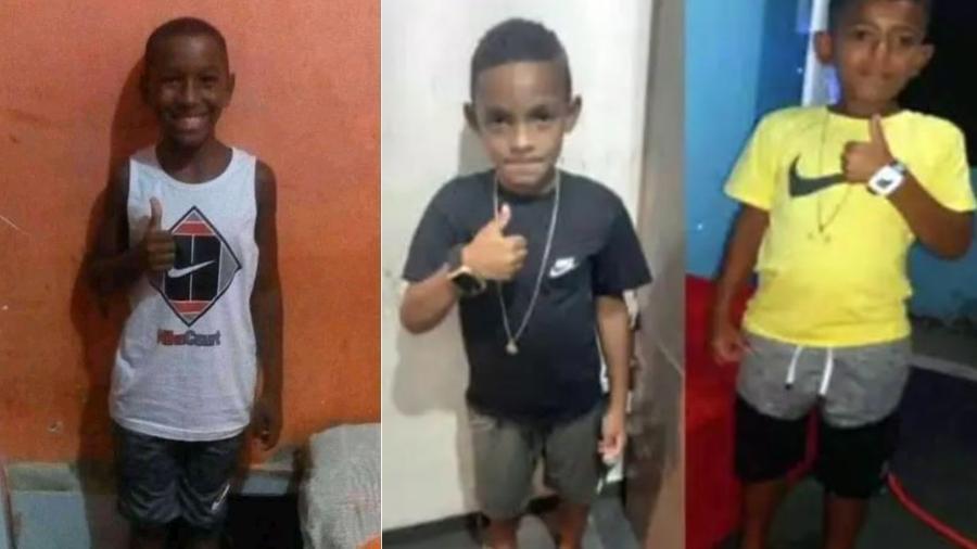 Fernando, 11, Lucas, 8, e Alexandre,10, desapareceram no RJ - Montagem/UOL