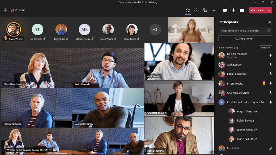 Microsoft Teams ficará mais atento e saberá isolar participantes numa reunião híbrida (parte presencial, parte remota) - Divulgação/Microsoft