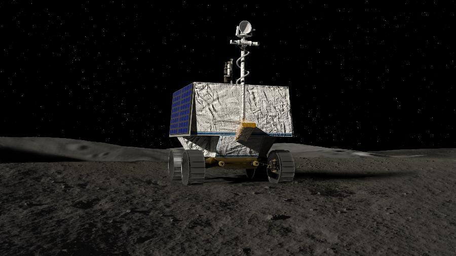Ilustração do Viper (Veículo de Exploração Polar para Investigação Volátil), da Nasa, que vai pousar no polo sul da Lua em 2023 para procurar água e outros recursos - NASA/Ames Research Center/Daniel Rutter