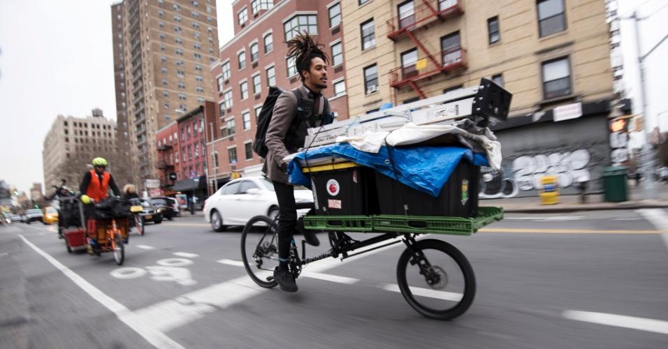 Mudança em Nova York em bicicletas de carga