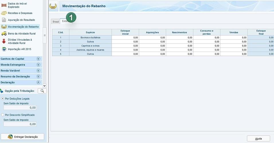Você também pode informar sobre rebanhos escolhendo Exterior (1) e informando os dados solicitados, como estoque inicial de animais, aquisições e vendas
