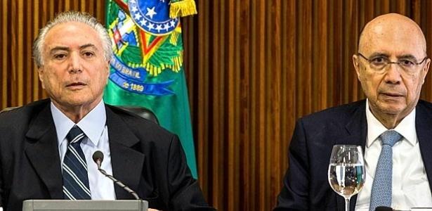 Presidente interino Michel Temer e o minitro da Fazenda Henrique Meirelles