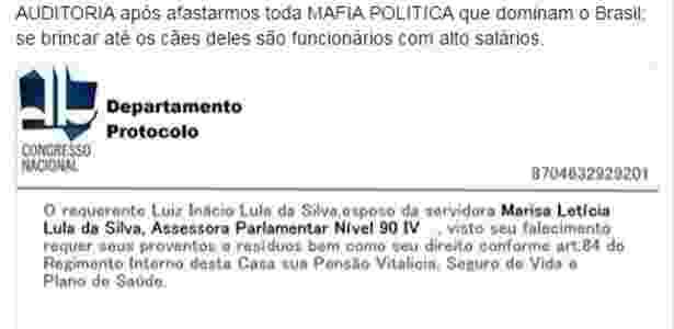 Imagem falsa que circula nas redes sociais afirma que a ex-primeira-dama Marisa Letícia ganhava salário de R$ 68 mil como funcionária do Congresso - Reprodução - Reprodução