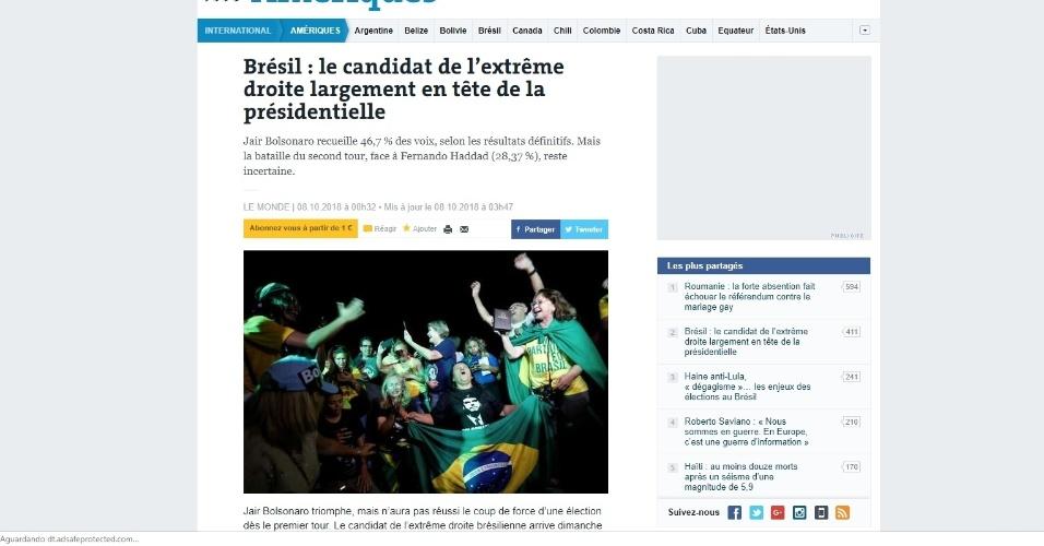 """Le Monde (França): """"Jair Bolsonaro soma 46,7% dos votos, de acordo com os resultados finais. Mas a batalha do segundo turno, diante de Fernando Haddad (28,37%), permanece incerta"""""""