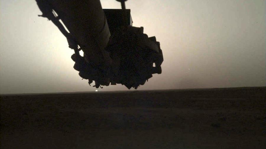 Registro fotográfico do nascer do Sol em Marte feito pela Insight, missão da Nasa. - Divulgação/Nasa