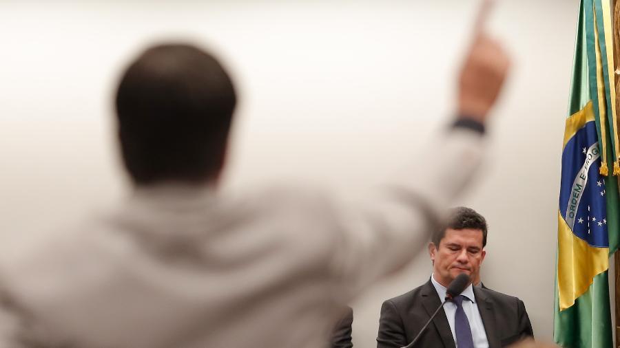 2.jul.2019 - O ministro da Justiça e Segurança Pública, Sergio Moro, em audiência na Câmara dos Deputados - Gabriela Biló/Estadão Conteúdo