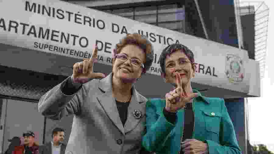 11.jul.2019 - Dilma Rousseff e Pilar del Rio visitam o ex-presidente Lula em Curitiba - Eduardo Matysiak/Estadão Conteúdo