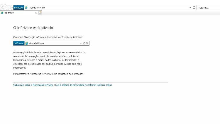 Explorer exibe também a política de privacidade online do navegador - Reprodução