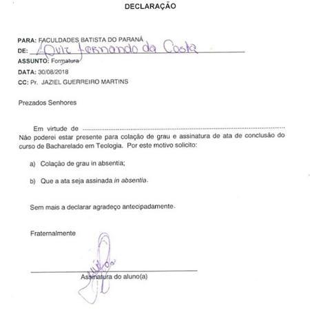 Beira-Mar assina declaração de que faltaria à cerimônia de formatura em teologia - Reprodução