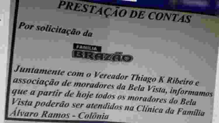 Bilhete em nome da Família Brazão chegou às redes sociais  - Reprodução - Reprodução
