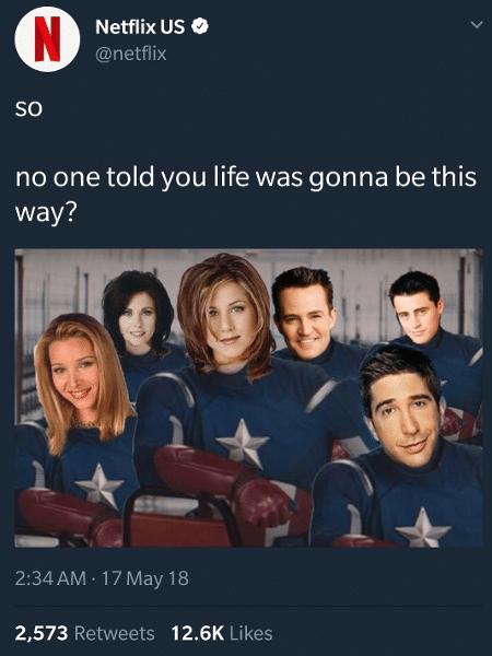 Netflix brinca com meme de Friends  - Reprodução/Twitter