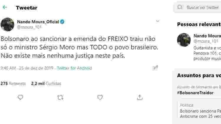 Tuíte de Nando Moura, que chama Bolsonaro de traidor, e que foi compartilhado pelo ministro da Educação Abraham Weintraub - Reprodução - Reprodução