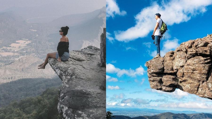 Turistas tiram fotos em penhasco no Parque Nacional Grampians, no estado australiano de Victoria  - Reprodução/Instagram
