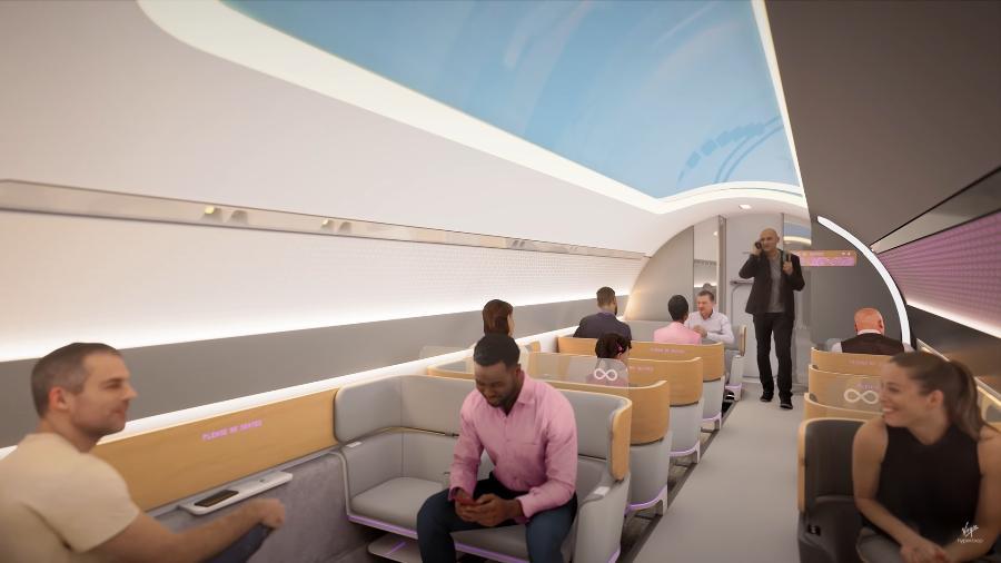 Vídeo conceitual mostra interior da cabine do Virgin Hyperloop - Reprodução/Virgin