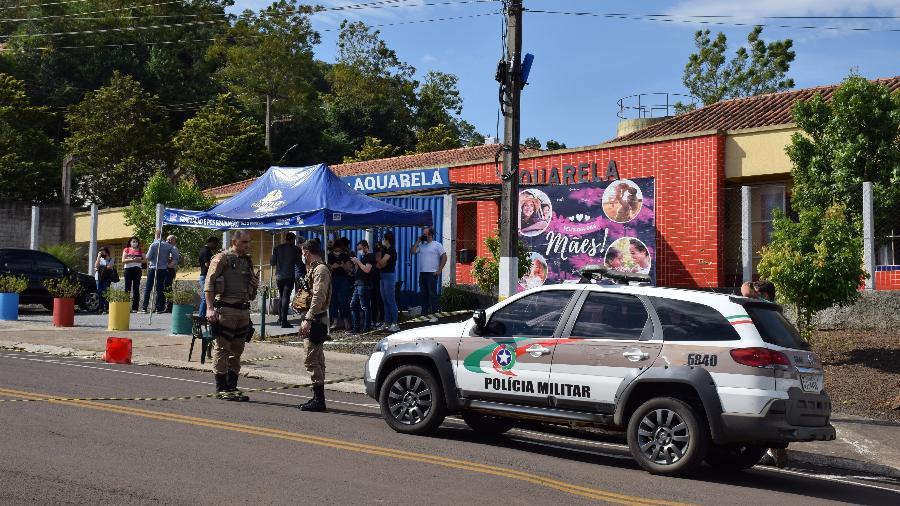 Fachada da CEI Pró-Infância Aquarela, em Saudades (SC), local onde ocorreu ataque com facão - Jessica Edel/Colaboração para o UOL