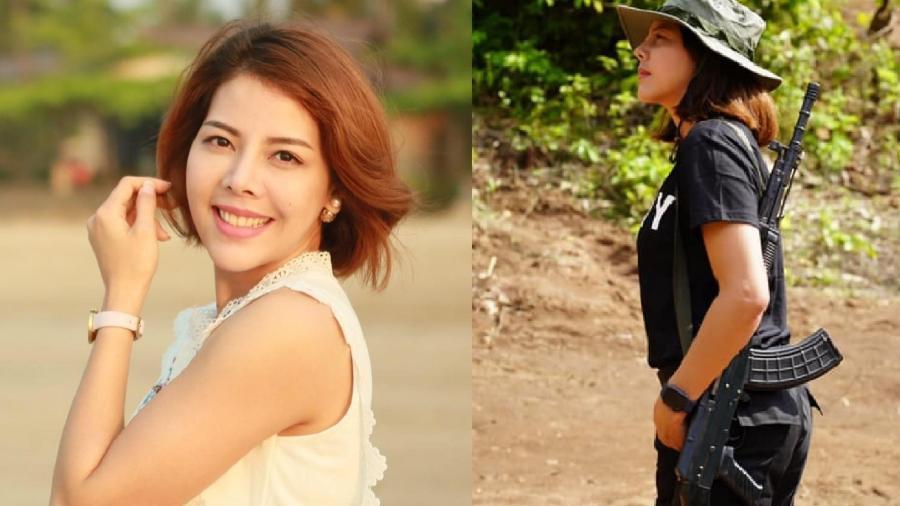 Htar Htet Htet, de 31 anos, é ex-miss do Mianmar e publicou foto armada - Reprodução/Facebook