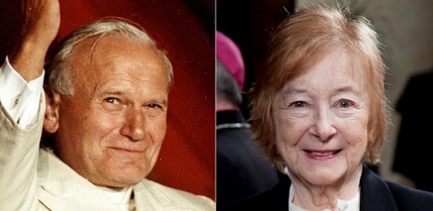 Em montagem, o papa João Paulo 2º e a filósofa polonesa Anna-Teresa Tymieniecka