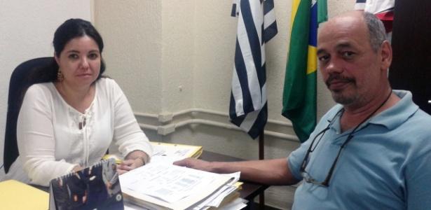 A delegada-titular Daniela Blanco e o chefe dos investigadores Nelson Collino Jr., na sede da Decradi, em São Paulo