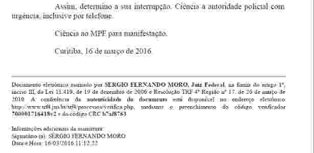 Em despacho das 11h22 da quarta (16), o juiz Sérgio Moro solicita a interrupção da interceptação dos telefones do ex-presidente Luiz Inácio Lula da Silva - Reprodução