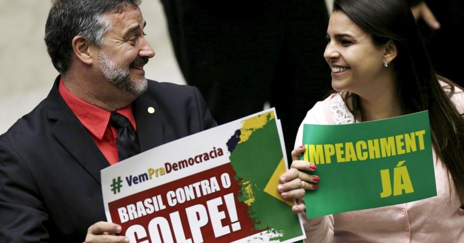 Paulo Pimenta (PT-RS) e Mariana Carvalho (PSDB-RO) na Câmara dos Deputados